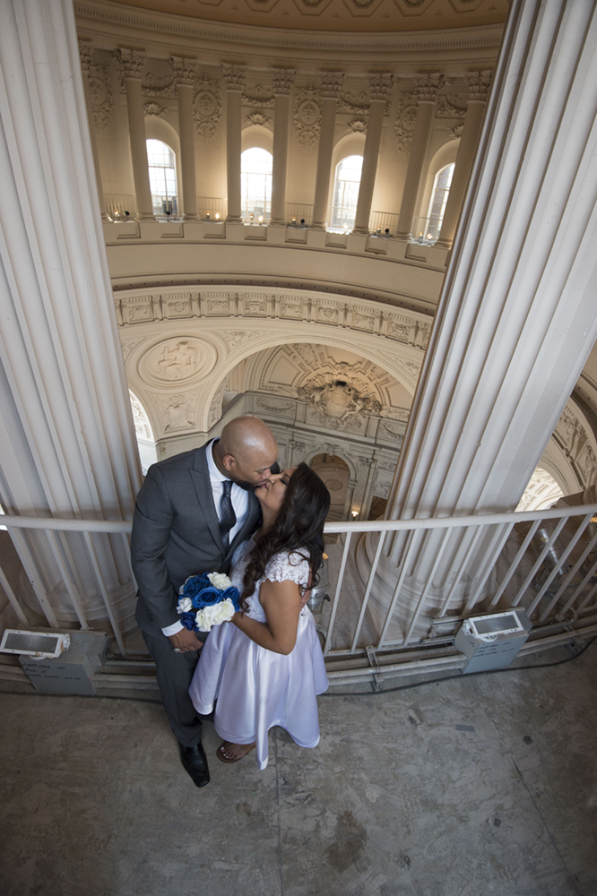 Bride and Groom in the Upper Dome at San Francisco City Hall