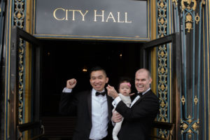 city hall sign with baby