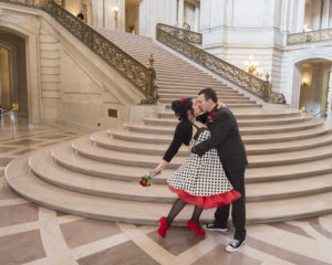 Fun Wedding Dress at the Grand Staircase