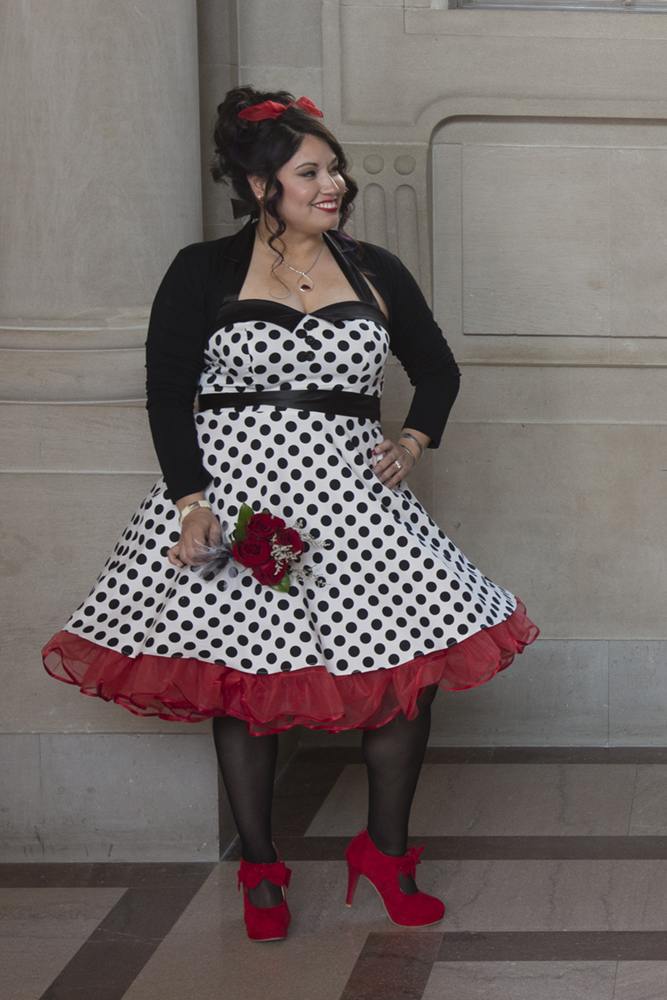 Polka Dot Wedding Dress at SF City Hall
