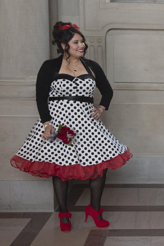 Polka Dot Wedding Dress at SF City Hall