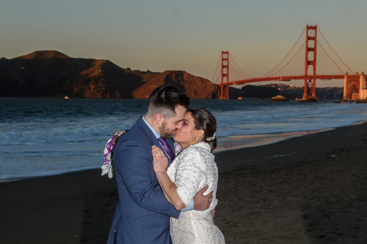 Kissing in Front of the Golden Gate Bridge in San Francisco