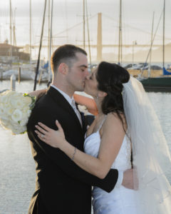 Wedding Kiss at the San Francisco Marina with the Golden Gate Bridge in the background