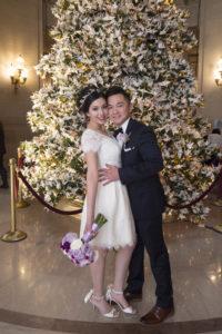 Christmas tree with bride and groom