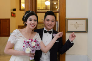 Bride and Groom at the County Clerks office at city hall