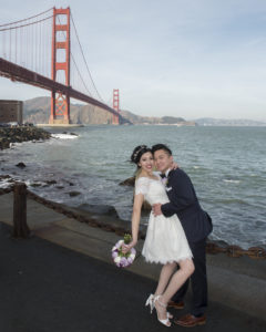 Golden Gate Bridge with Wedding Couple