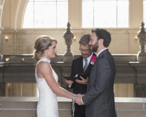 Romantic moment during wedding vows