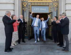 Grooms leaving San Francisco City Hal