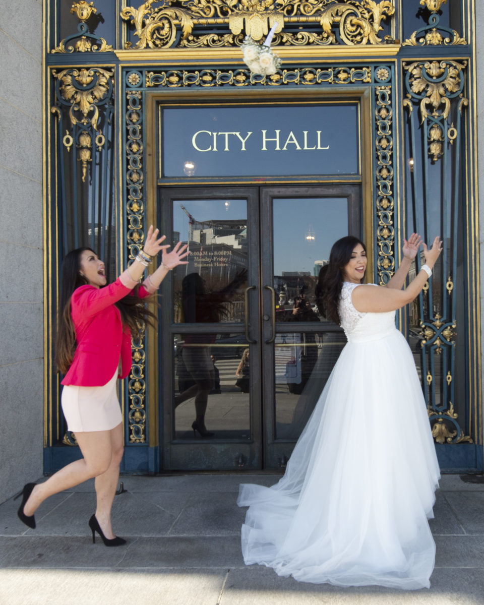 Catching the Bouquet in front of San Francisco City Hall