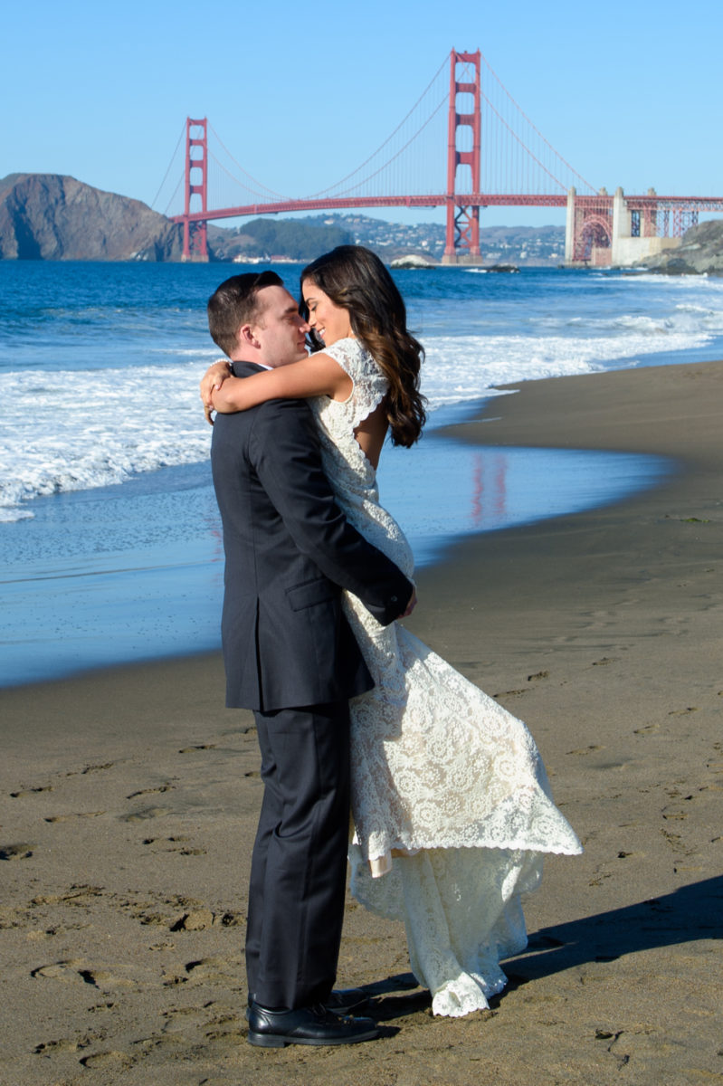 Wedding Photography at Baker Beach on a clear day