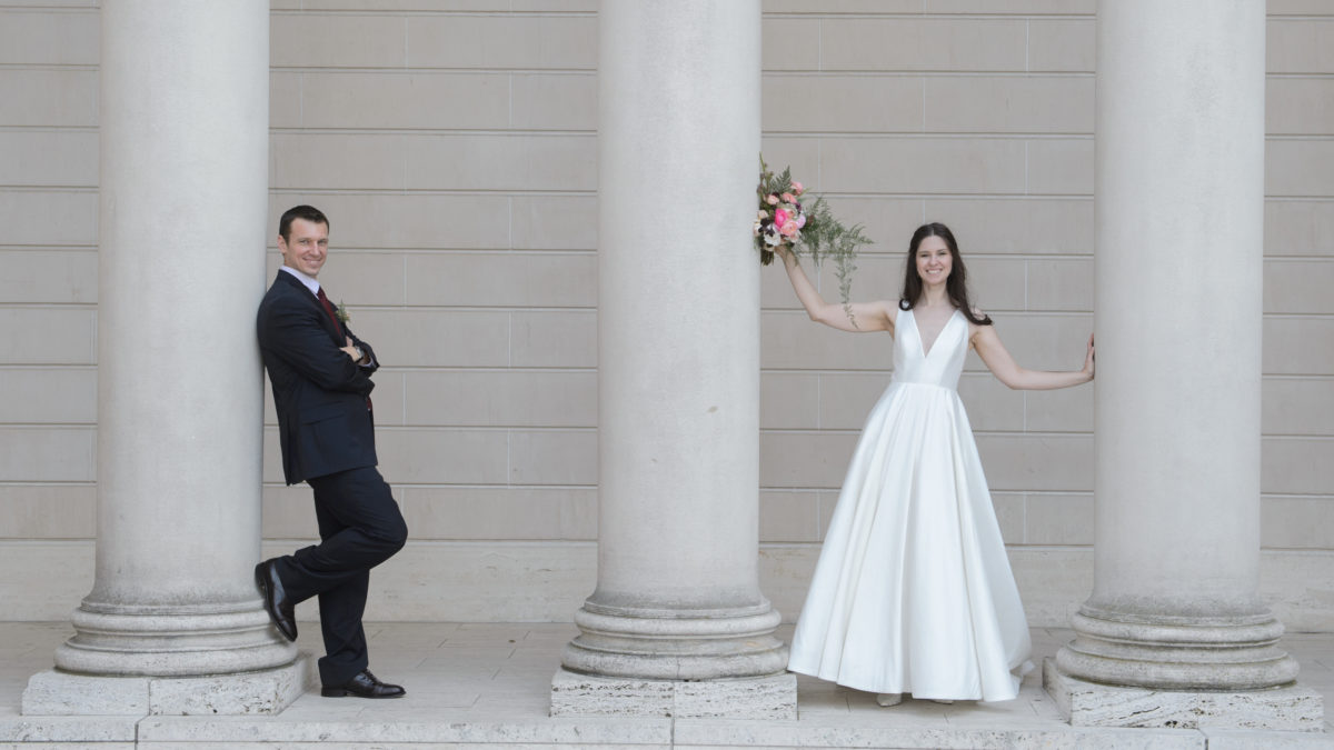 Bride and Groom in San Francisco having fun at the Legion of Honor