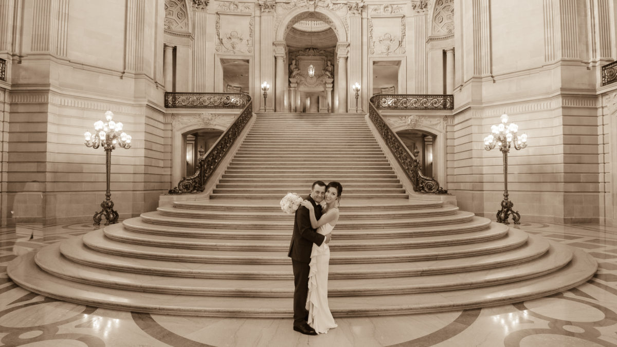 The Grand Staircase at city hall in Sepia Tone
