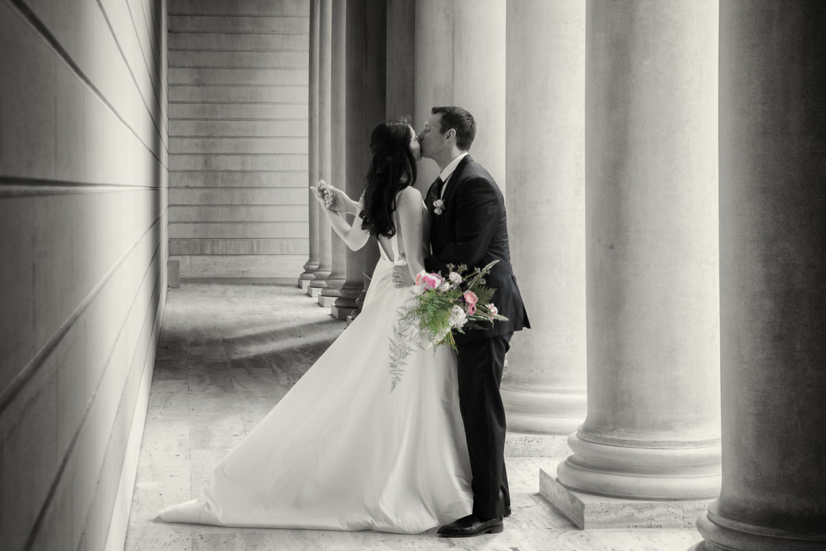 Bride and Groom Kissing at the Legion of Honor in San Francisco