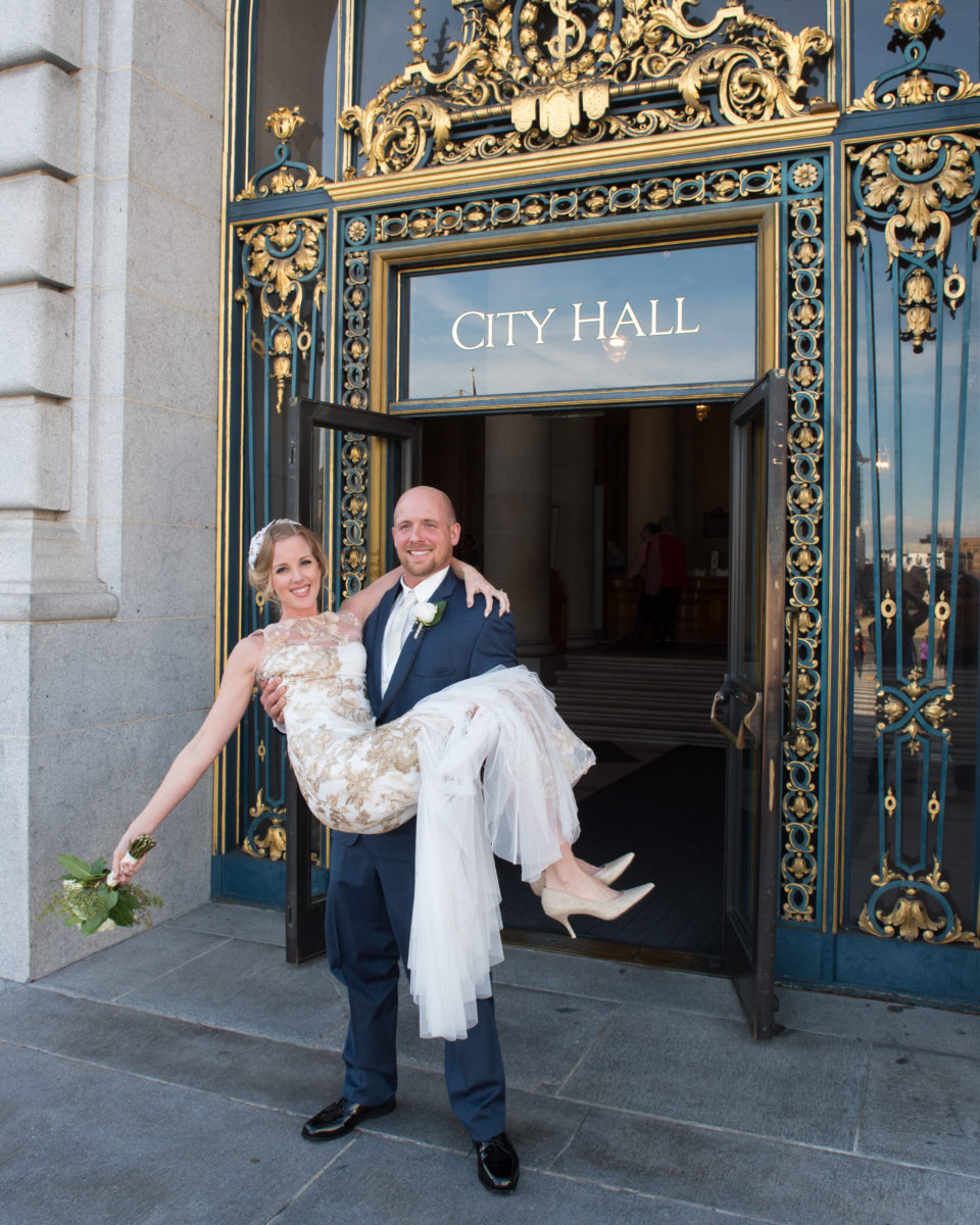 Carrying the Bride out of San Francisco City Hall
