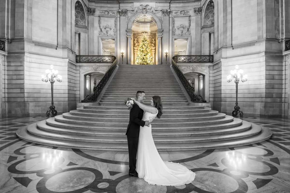 The Grand Staircase at Christmas time.  A mix of black and white and color in San Francisco.