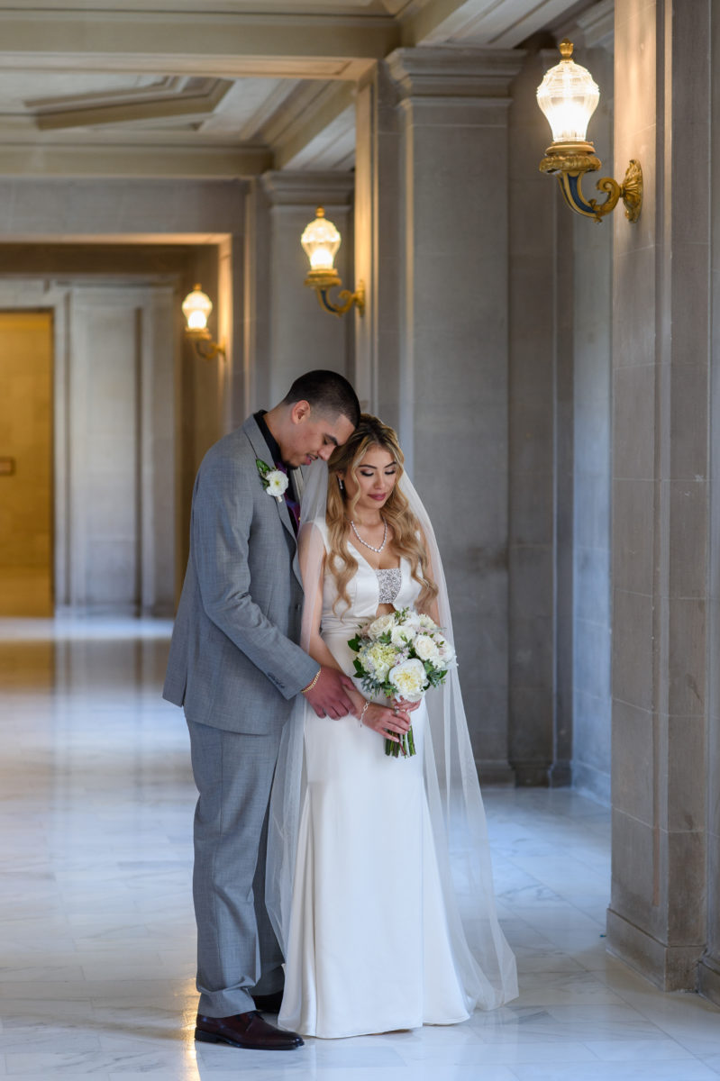 City Hall Bride and groom in Romantic pose in the Summer