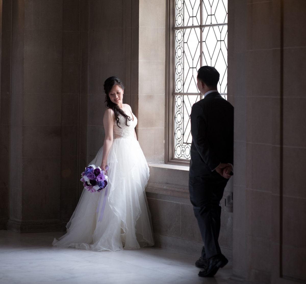 City Hall in San Francisco wedding couple