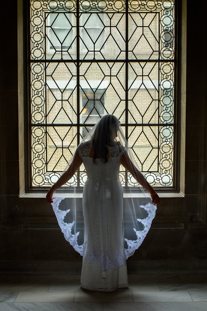 Beautiful veil back lighted in front of window